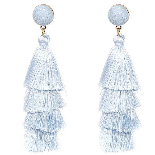 Fashion Colorful Layered Tassels Earrings Bohemia Thread Dangle Earrings Stud Eardrop Long Earrings for Women Girls