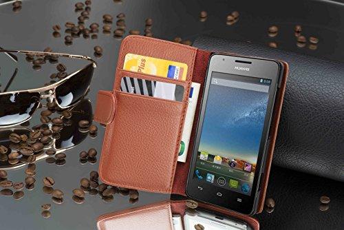 Cadorabo - Funda Huawei ASCEND G525 / G520 Book Style de Cuero Sintético en Diseño Libro - Etui Case Cover Carcasa Caja Protección con Tarjetero en AZUL-REAL MARRÓN-COGNAC