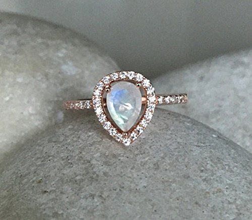 - Rainbow Moonstone Engagement Ring- Rose Gold Wedding Ring- Moonstone Promise Halo Ring- June Birthstone Ring- Solitaire Gemstone Ring
