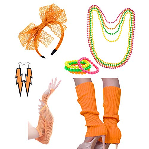 Halloween Dance Recital Songs (Women's 80s Costume Outfit Accessories Set Leg Warmers Gloves for 80's Theme Party)