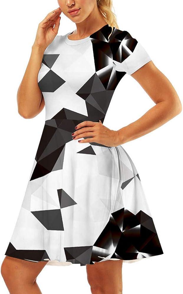 Vestido para Mujer Casual Verano impresión 3D Manga Corta línea A Retro Vestido de Playera - Blanco - Small: Amazon.es: Ropa y accesorios