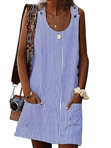 (Valphsio Women Stripe Tank Dress Crew Neck Summer Short Shift Dress with Pocket)