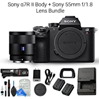 Sony a7R II Full-Frame Mirrorless Interchangeable Lens Camera Body and Sony 55mm F1.8 Sonnar T FE ZA Full Frame Prime Lens (Fixed) + DigitalAndMore Camera & Lens Cleaning Solution