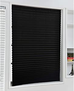 Blackout Pleated Window Shades, Trim-at-Home Window Blind Blackout Light Block Cordless Black 35