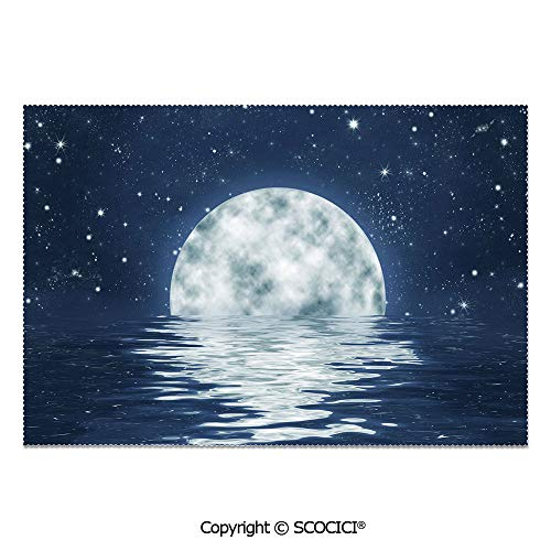 SCOCICI Set of 6 Heat Resistant Non-Slip Table Mats Placemats Moon Setting Over The Sea with Waves Night Sky with Stars End of The Evening Decorative for Dining Kitchen Table Decor]()