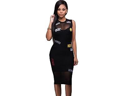 Carolina Dress 2017 Vestidos Ropa De Moda Para Mujer De Fiesta y Noche Casuales Elegante Negro (L) at Amazon Womens Clothing store: