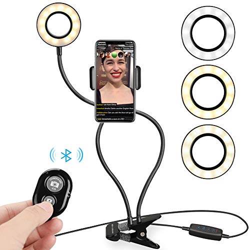 WEIHAO Selfie Ring Light with Cell Phone Holder Stand for Live Stream and Makeup Including Selfie Remote Shutter, Lazy Bracket with Flexible Arms Phone Mounts for Smartphone (Chat Light)