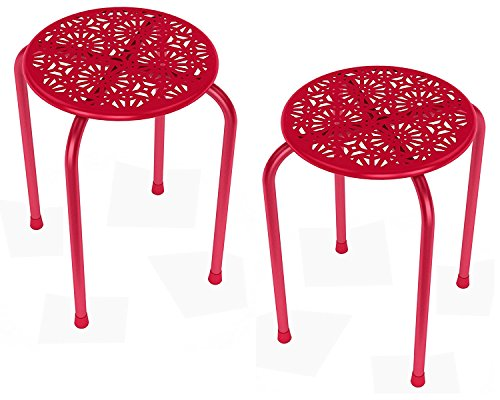 dar Living Daisy Metal Stool, Red (2-Pack) (2 Pack Daisy)