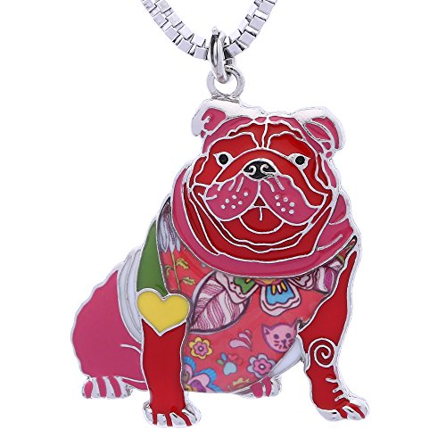 - Luckeyui English Bulldog Necklace Gifts for Women Dog Lovers Novelty Pendant can be used as Keychain