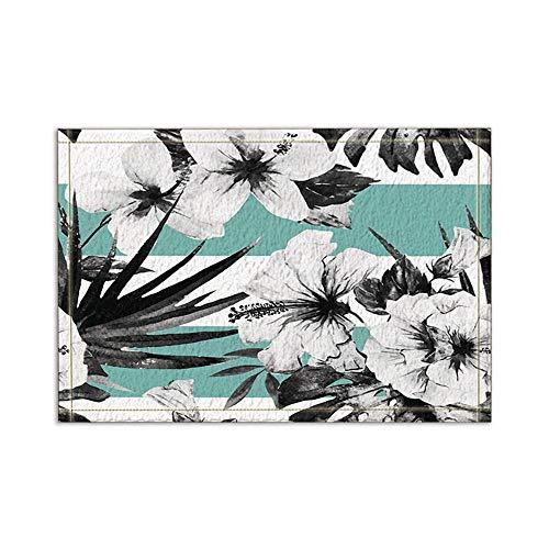 CdHBH Black and White Hibiscus Flowers in Sapphire Blue Decor Bath Rugs Non-Slip Floor Entryways Outdoor Indoor Front Door Mat,15.7x23.6in Bath Mat Bathroom Rugs