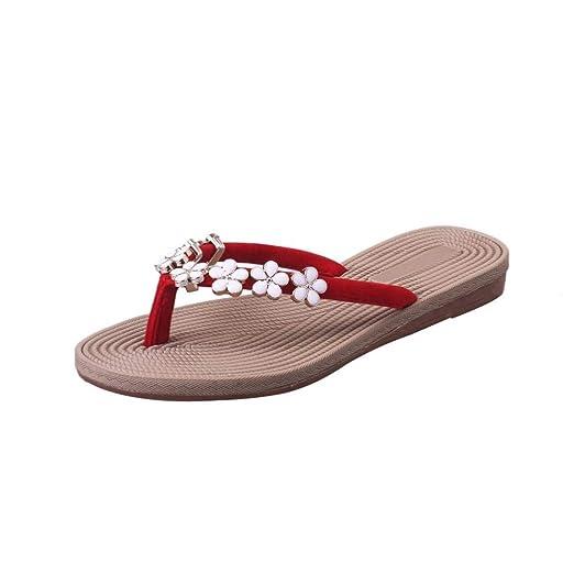 ZHRUI Chancletas para Mujer Boho Beach Sandalias de Tiras de Estilo Griego Plano, Floray Strappy Smart Summer Toepost Zapatillas Personalizadas Negro Rojo ...