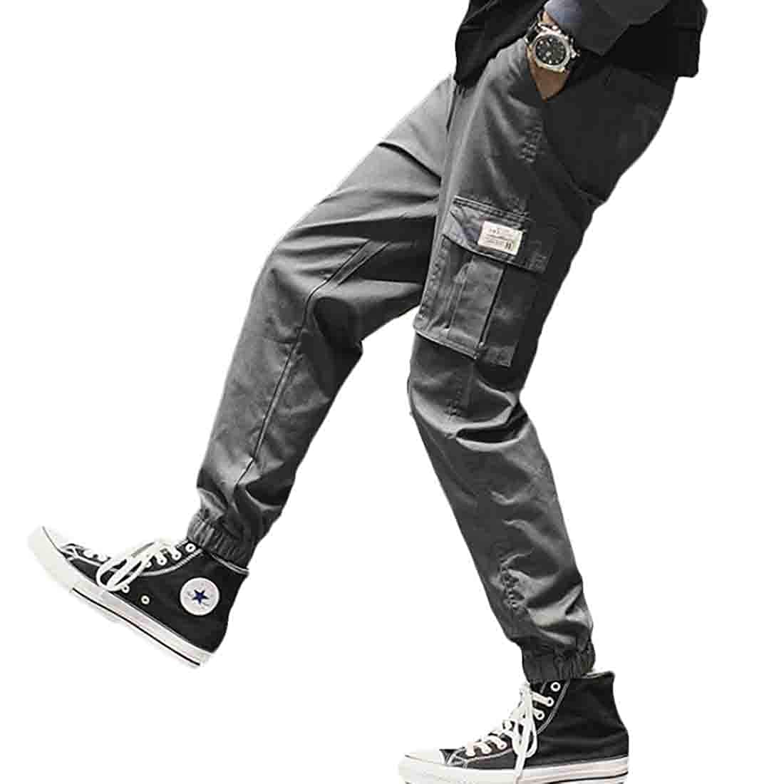 JXG Men Casual Cotton Hip Hop Sports Trousers Joggers Cargo Pants