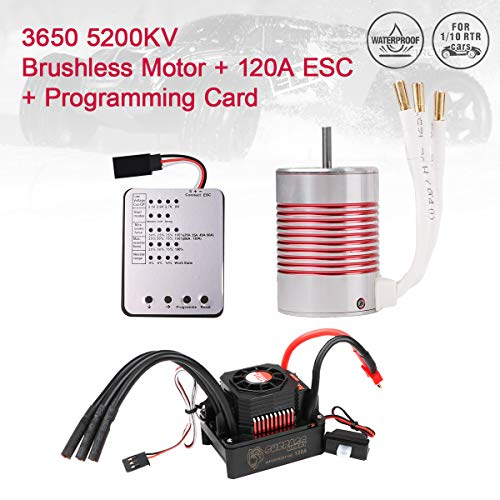 (Innovateking 3650 5200KV Sensorless Brushless Motor with 120A ESC Electronic Speed Controller and Programming Card Waterproof Combo Set 3.175mm Shaft for 1/10 RC Car)