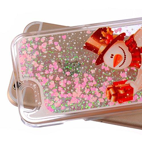 Schutzhülle für iPhone 4s,NSSTAR Hart Plastic Handyhülle Transparent Clear Cystal Case Glitter Flowing Liquid Wasser Dual Layer Attraktiv Hard Kunstoff Hülle Etui Schale für iPhone 4 4s (Christmas)