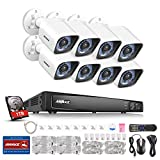 Cheap ANNKE True 1080P PoE Security System 8CH H.264 NVR with 1TB Surveillance Hard Disk Drive and (8) 1920TVL 2.0MP CCTV Bullet Cameras, IP66 Weather-Proof Housing, 48V Power Over Ethernet