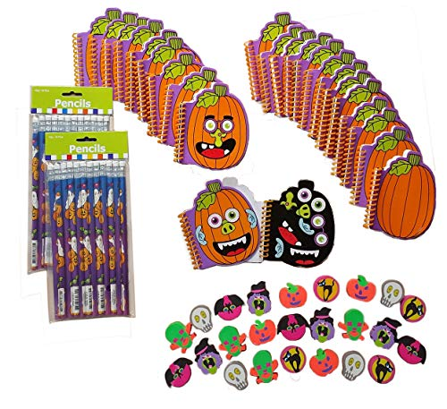 Halloween Decorate-a-Pumpkin Notepads with Stickers, Spooky Pencils & Erasers Stationary Set Birthday Party Supplies/Classroom Favors for 24 Kids (72 Items)