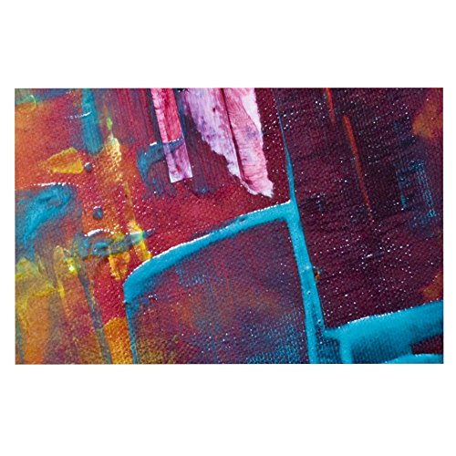 Kess InHouse Malia Shields Cityscape Abstracts II  Multicolor Painting Pet Bowl Placemat, 24  x 15