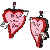 Betsey Johnson Plexi Heart with Arrow Drop Earrings