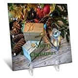 3dRose Christmas - Image of Country Gifts Under Tree On Wooden Floor - 6x6 Desk Clock (dc_290330_1)