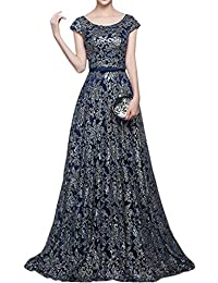 DressyMe Modest Evening Prom Dress for Women A-line Cap Sleeves Jewel Flower