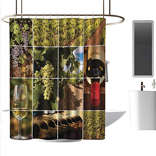 coolteey Shower Curtains for Bathroom sage Vineyard,Vineyard Landscapes Purple Grapes French Bottle Glass Rustic Cellar Couples,Green Red Brown,W36 x L72,Shower Curtain for Bathroom