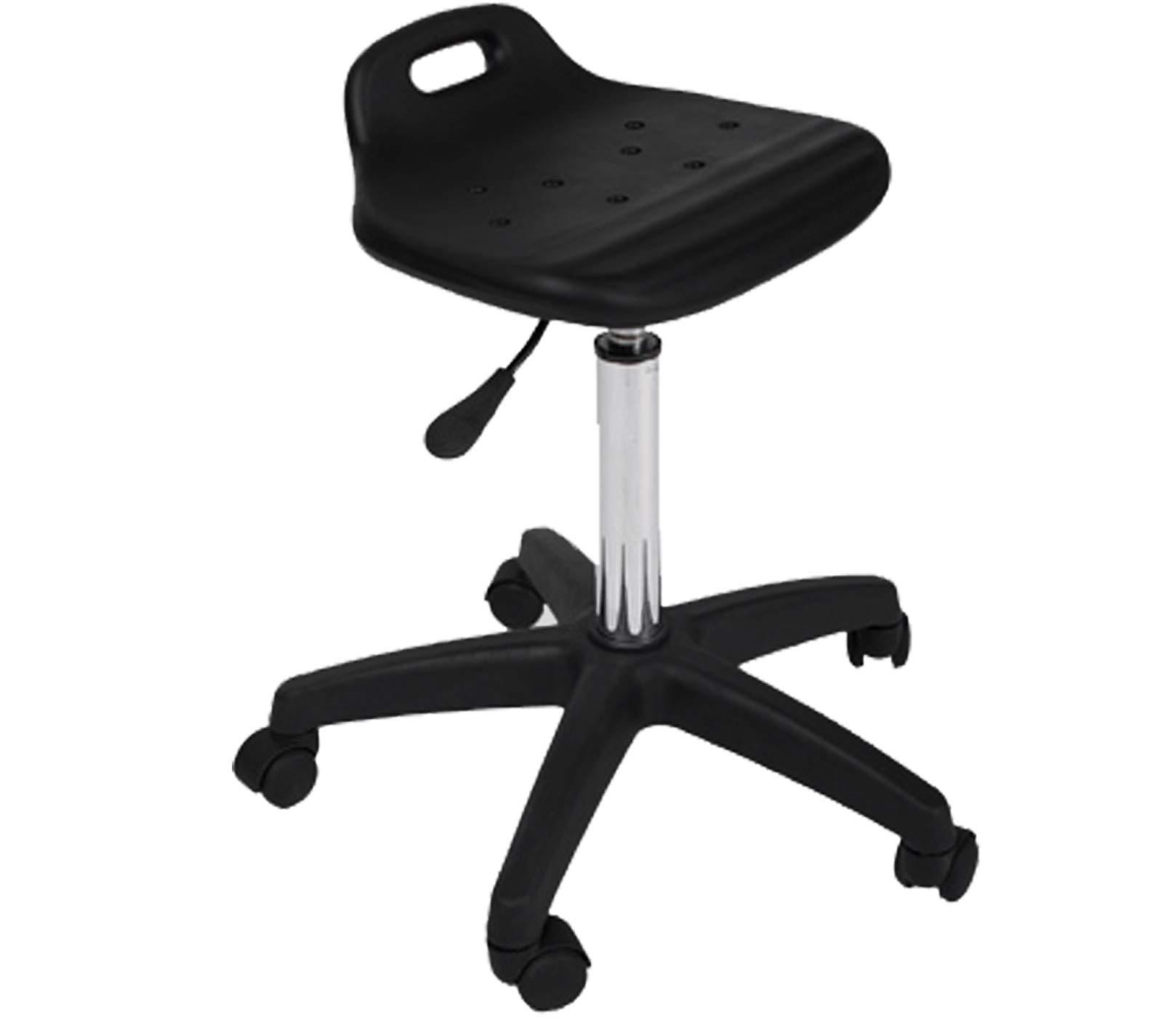 LCL Beauty Deluxe Extra Large Air-Lift Stool with Backrest & Welded Steel Base