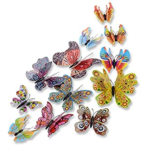 DaGou mixed of 12PCS 3D Pink Butterfly Wall Stickers Decor Art Decorations¡ (Chinese style)