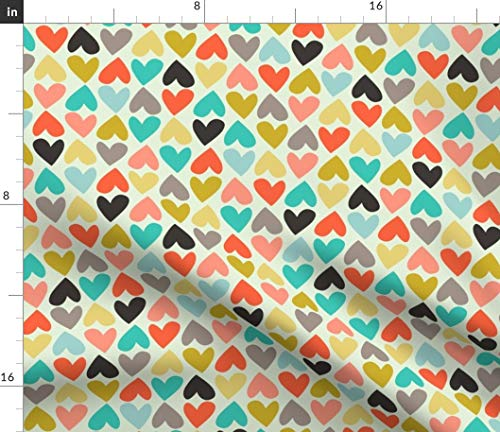 (Spoonflower Unisex Fabric - Hearts Playful Colorful Turquoise Pink Gray Print on Fabric by The Yard - Chiffon for Sewing Fashion Apparel Dresses Home Decor)