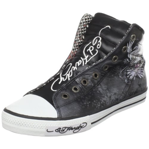ED HARDY Men's Brooklyn Sneaker,Black-10fbk104m,10 M - Leather Hardy Ed