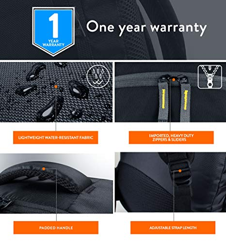Lunar's Unisex 50L Water Resistant Office/Travel/Business Laptop Backpack, Bag for up to 17.3 inch Laptop/MacBook with rain Cover and 2 Large compartments(Black)