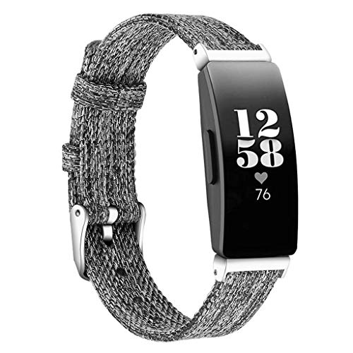 Cywulin for Fitbit Inspire and Inspire HR Bands, Soft Canvas Woven Fabric Sport Strap Loop Replacement Quick Release Breathable Adjustable Wristband with Connector for Women Men (Small, Dark Gray)