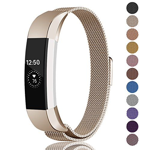 Fundro Compatible Fitbit Alta HR Alta Band, Milanese Stainless Steel Metal Replacement Band Magnetic Lock Fitbit Alta HR Alta, Women Men Small Large