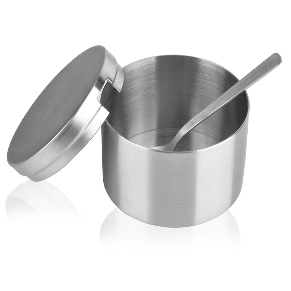 Arswin Sugar Bowl with Lid and Spoon, Stainless Steel Sugar Bowl and Sugar Spoon, Multi-Function Sugar Container Spice Container Salt Jar Condiment Bowls Sugar Jar for Kitchen Storage Organization