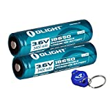Two Olight 3400mAh Protected Button Top Rechargeable 18650 Batteries for Olight M22 M20S
