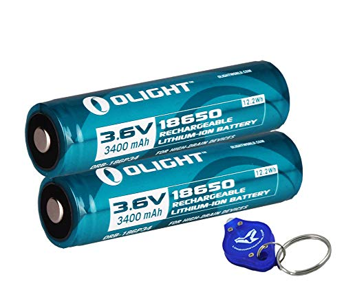 Two Olight 3400mAh Protected Button Top Rechargeable 18650 Batteries for Olight M22 M20S M18 M20X LED Flashlights and More
