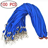 Lanldc 32-inch 100 Pcs Cotton Swivel J-Hook Lanyards Bulk Flat Lanyards for Office ID Name Tags and Badge Holders(Blue)