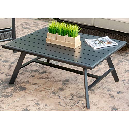 Hanover Weather Grade Aluminum Slat-Top Coffee Table, CMCOFTBL-GM Commercial Outdoor Furniture, Gunmetal