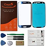 CrazyFire® Pebble Blue New Front Outer Lens Glass Screen Cover Replacement For Samsung Galaxy S3 SIII I9300 I747 L710 T999 I535+Tools Kit+Adhesive Tape