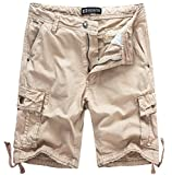 WenVen Men's Active Cargo Shorts Cotton Outdoor Wear Lightweight (WV3229 Light Khaki,33)