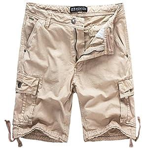 WenVen Men's Cotton Twill Cargo Shorts Outdoor Wear