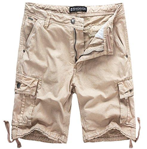 WenVen Men's Active Cargo Shorts Cotton Outdoor Wear Lightweight (WV3229 Light Khaki,32) (Cargo Vintage Khakis)