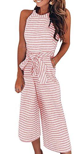 Shinfy Women's Striped Sleeveless Belted Zipper Back Wide Leg Loose Jumpsuit Romper Long Pants