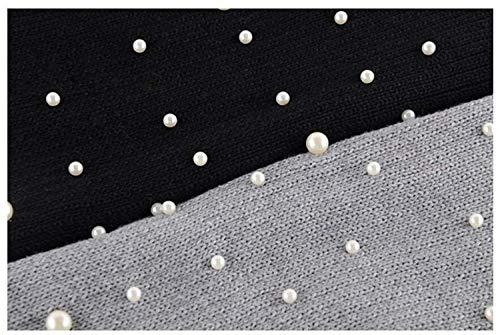 Casual Sleeve Pullover Stile Lunga Monocromo Accogliente Lantern Perline Maglione Women Collo Autunno Moda Rotondo Donna Nero Felpa Lana Giovane Eleganti Maglieria Manica Invernali Maglie 1AqTwn4Rz