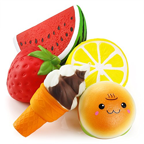 PP OPOUNT 5 Pieces Squeeze Cream Scented Toys Slow Rising Fruit and Burger Combination Toys (Lemon, Strawberry, Watermelon, Ice Cream, Smiling Burger)