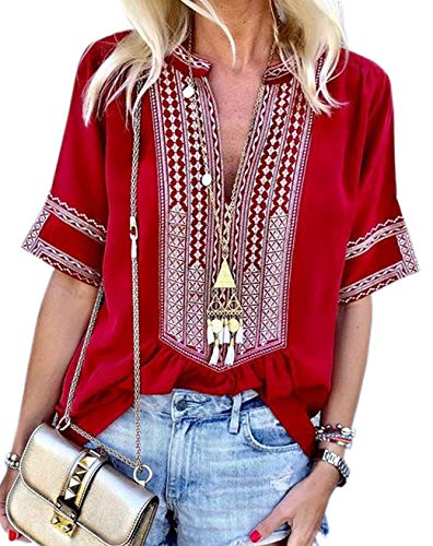 (Women's Tops Boho Fashion Shirts Tops Summer Loose Short Sleeve V Neck Casual Blouse Red XXL)