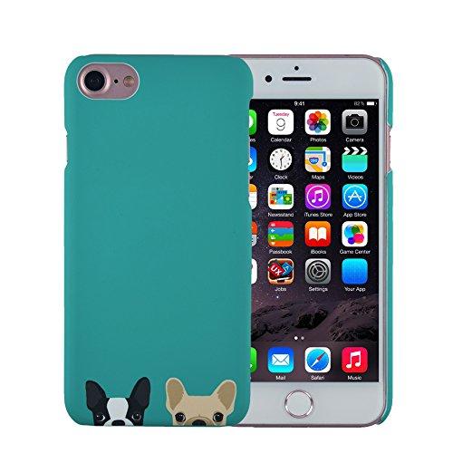 iPhone 8 Plus 7 Plus Case, FACEVER Cute French Bulldog Anti-fingprint Full Printed Ultra Slim Hard Plastic Cover for iPhone 8 Plus 7 Plus -Green Dog