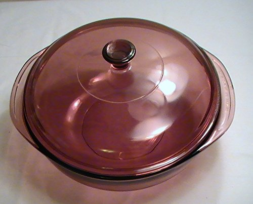 (Corning Vision Cranberry 2-Quart Round Casserole with Lid - #024)