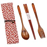 Startostar Wooden Flatware Set of 5-piece with Pouch for Camping, Travel, Picnic,Office or Home (Fork, Spoon, Chopsticks)