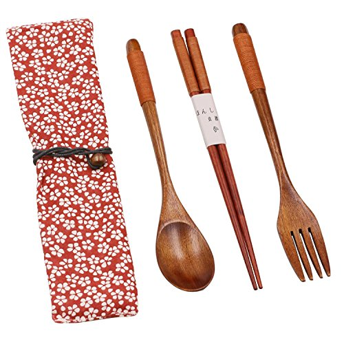 Wooden Rice Chopsticks and Soup Spoons Sets Reusable Handmade Picnic Tableware