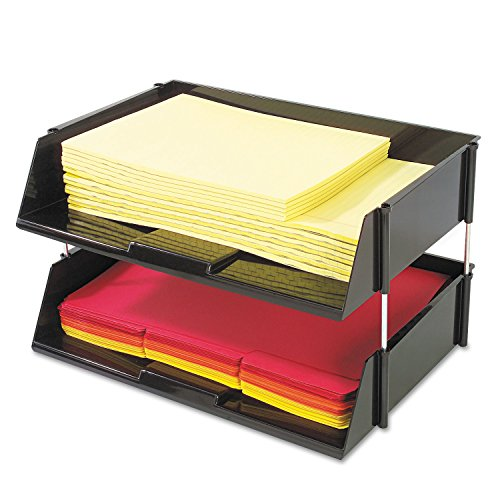 - deflect-o Products - deflect-o - Industrial Stacking Tray Set, 2 Tier, Plastic, Black - Sold As 1 Set - Tough, break resistant, extra-wide side load plastic trays handle oversized loads. - Each tray holds 1,500 sheets of paper or a heavy catalog. - Metal risers provide additional strength. - Includes two trays plus metal risers. -